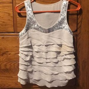 Ruffle and sequined tank